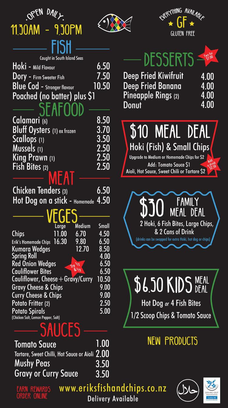 Erik's Fish and Chips Menu - Queenstown and Wanaka